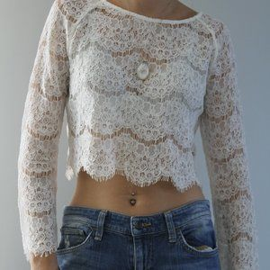 Glamorous Ivory Lace Crop Top
